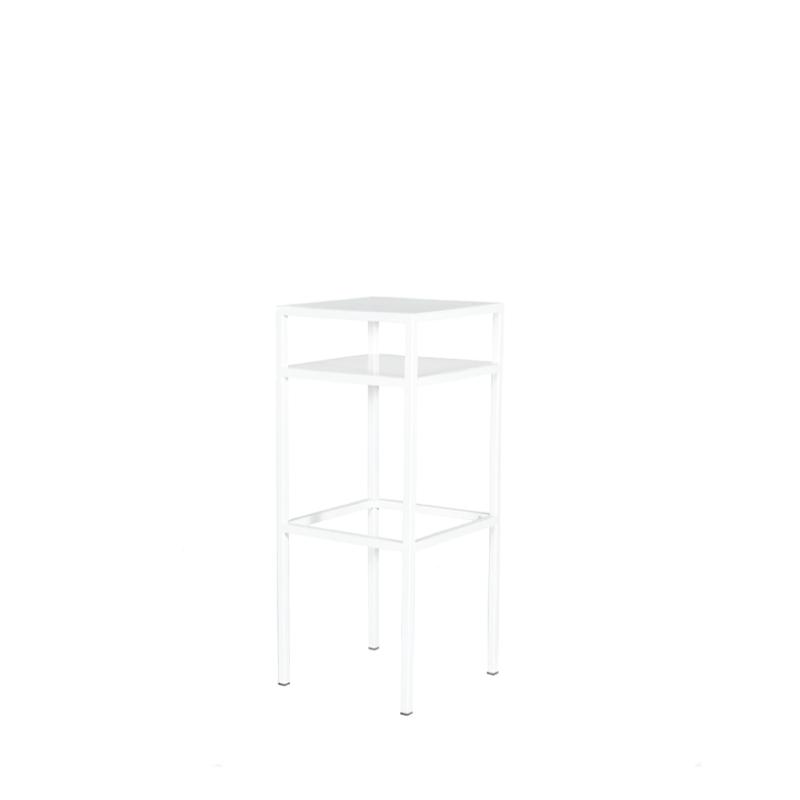 """WHITE METAL BISTRO TABLE   18""""l x 18""""w x 44""""h"""