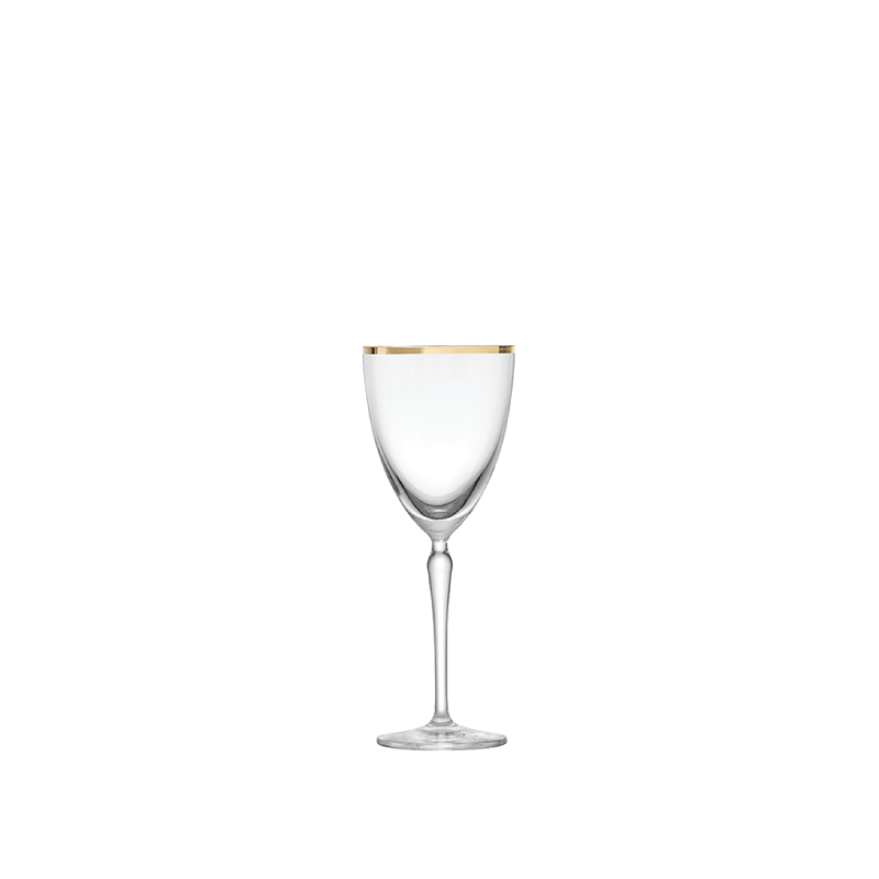 GOLD RIM WHITE WINE GLASS   available in: 10 ounce