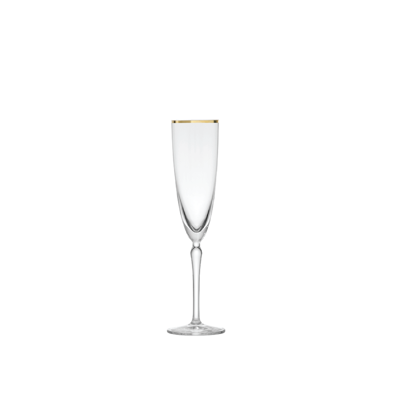 GOLD RIM CHAMPAGNE FLUTE   available in: 7 ounce