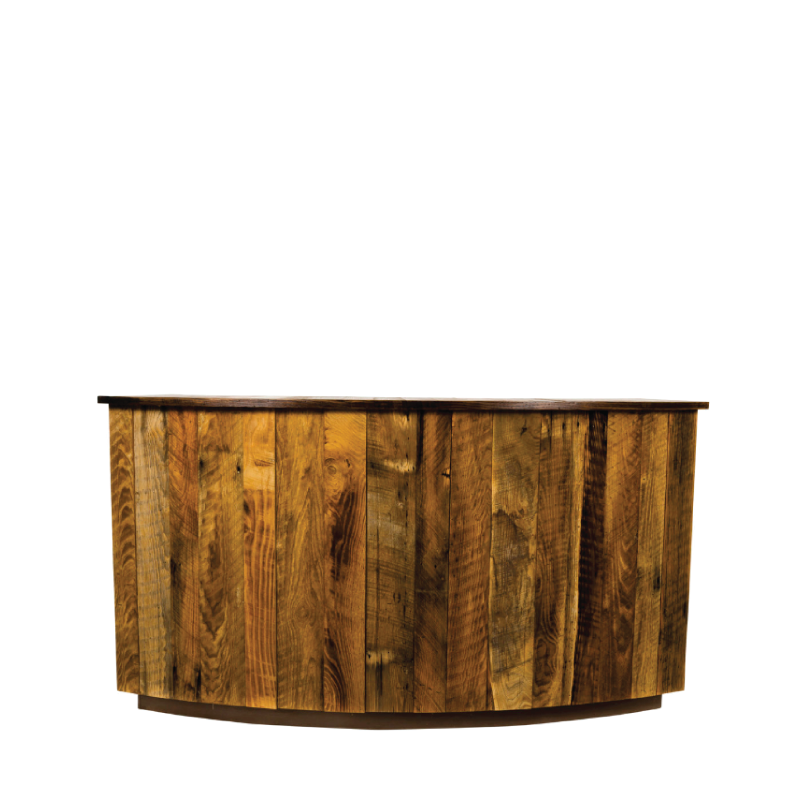 """JACKSON BAR IN THE ROUND   14' diameter; 6 curved sections of 7'l x 44""""h"""