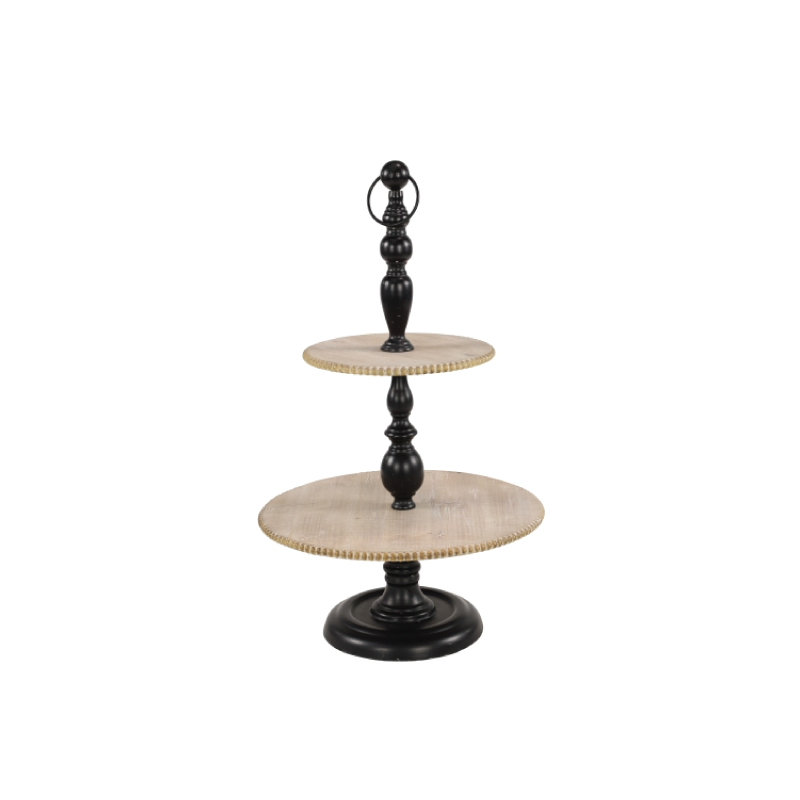 "WOOD & BLACK METAL 2-TIER SERVER   dimensions: 10.5"", 16"" x 27""h"