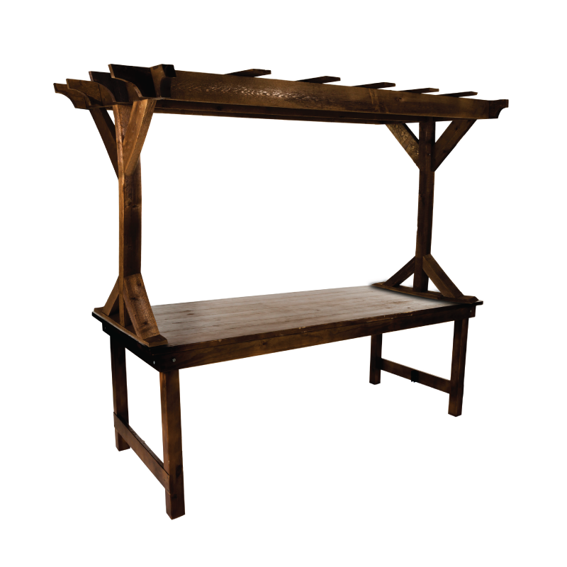 WOODEN ARBOR   available in: tabletop (8'l x 6'h); standing (8'l x 8'h)