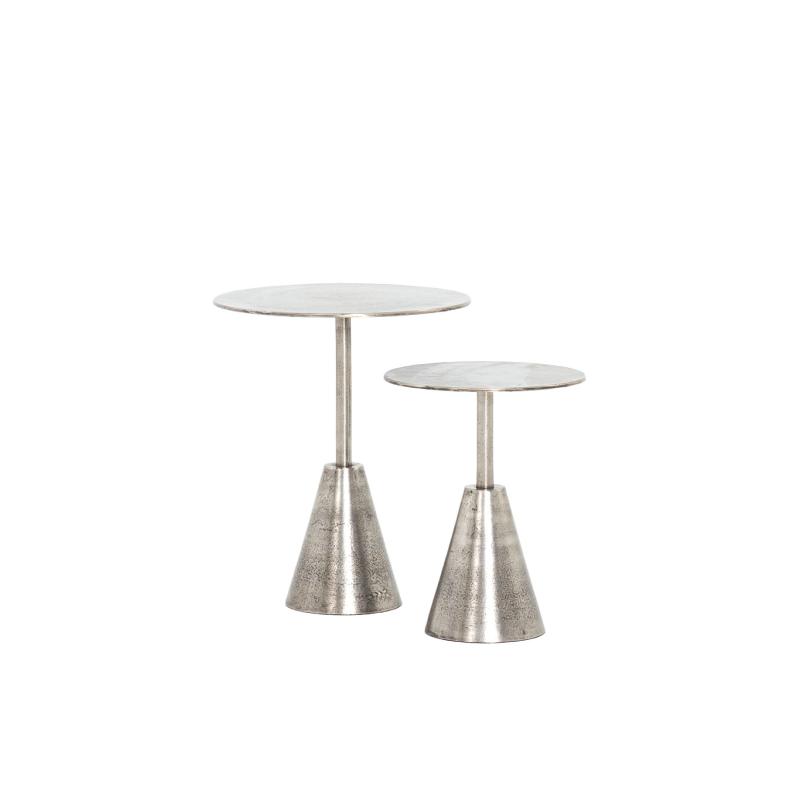 "LINDEN SILVER PEDESTAL TABLES (SET OF 2)   16"" diameter x 20""h; 12"" diameter x 15.75""h"