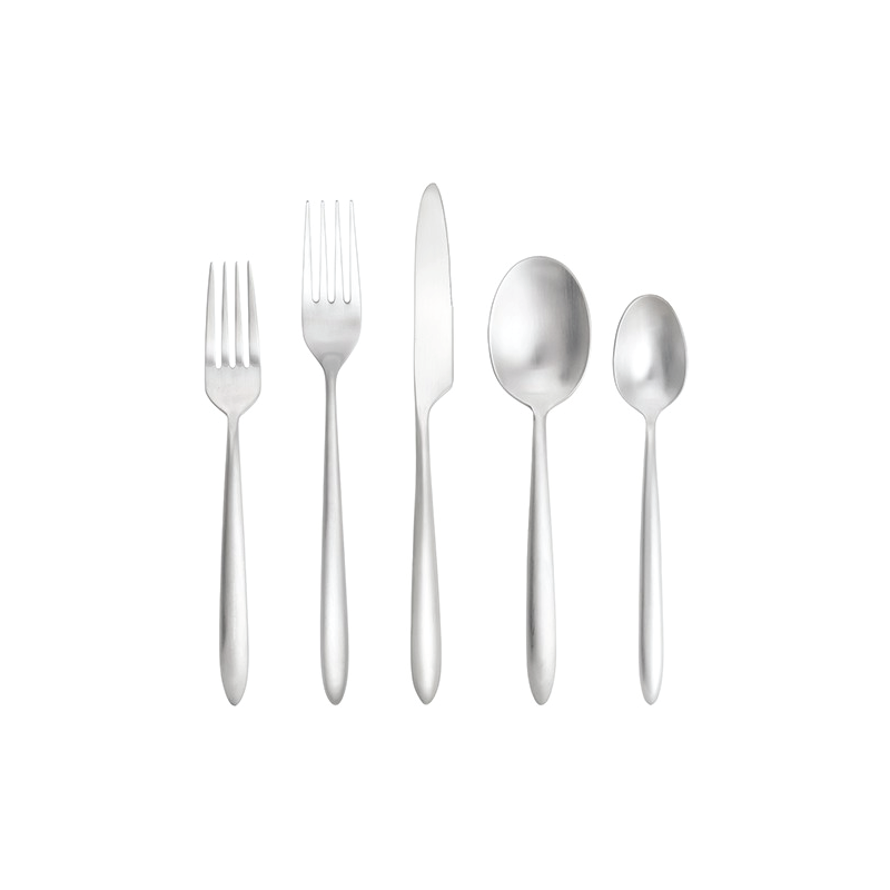 "MATTE SILVER FLATWARE   available in: Salad Fork (7,.25""), Dinner Fork (8.25""), Dinner Knife (9""), Dessert/Soup Spoon (7.5), Teaspoon (6.7"")"