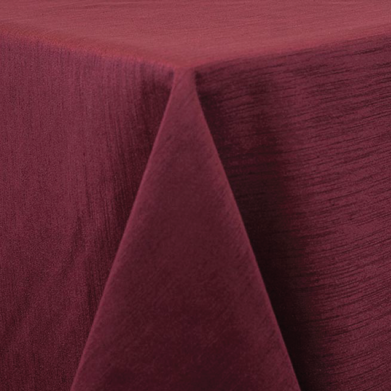 "BURGUNDY MAJESTIC LINEN   available in: 20""x20"" square napkin, 108"" round, 120"" round, 132"" round, 90""x132"" long, 90""x156"" long, 12"" x 108"" long runner"