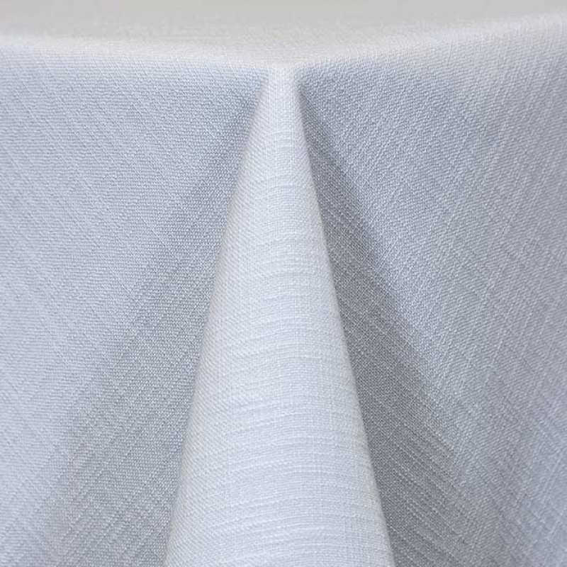 "WHITE PANAMA LINEN   available in: 108"" round, 120"" round, 132"" round, 90""x156"" long, 108""x 156"" long, 12"" x 108"" long runner"