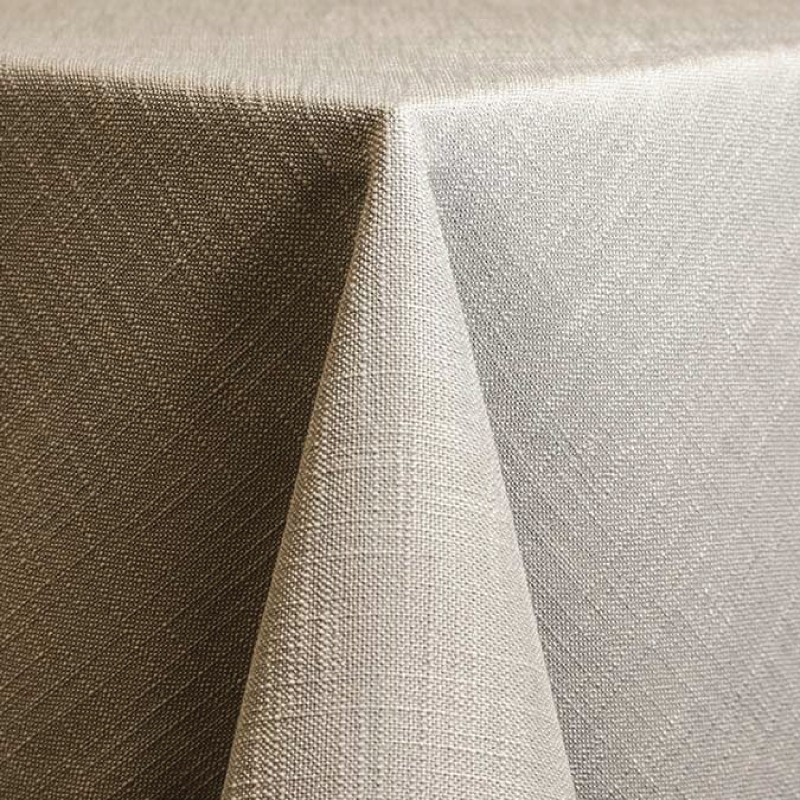 "SILVER PANAMA LINEN   available in: 108"" round, 120"" round, 132"" round, 90""x156"" long, 108""x 156"" long, 12"" x 108"" long runner"