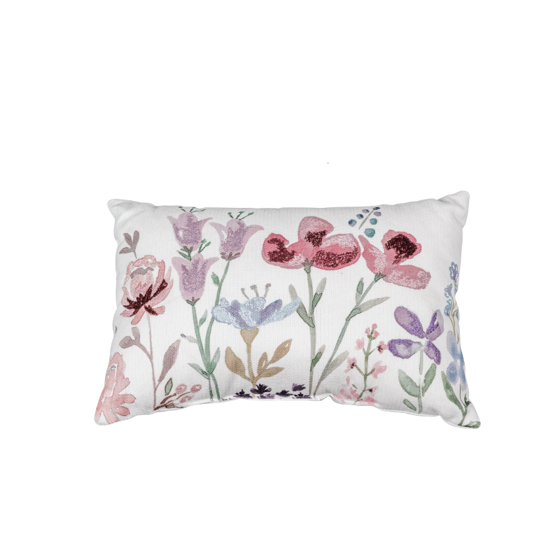 WHITE FLORAL PRINT ACCENT PILLOW