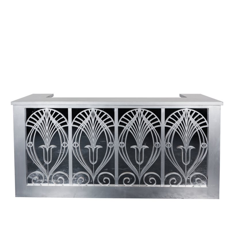 """GATSBY SILVER BAR FACADE   8'l x 44""""h x 15"""" top with 16"""" side returns"""