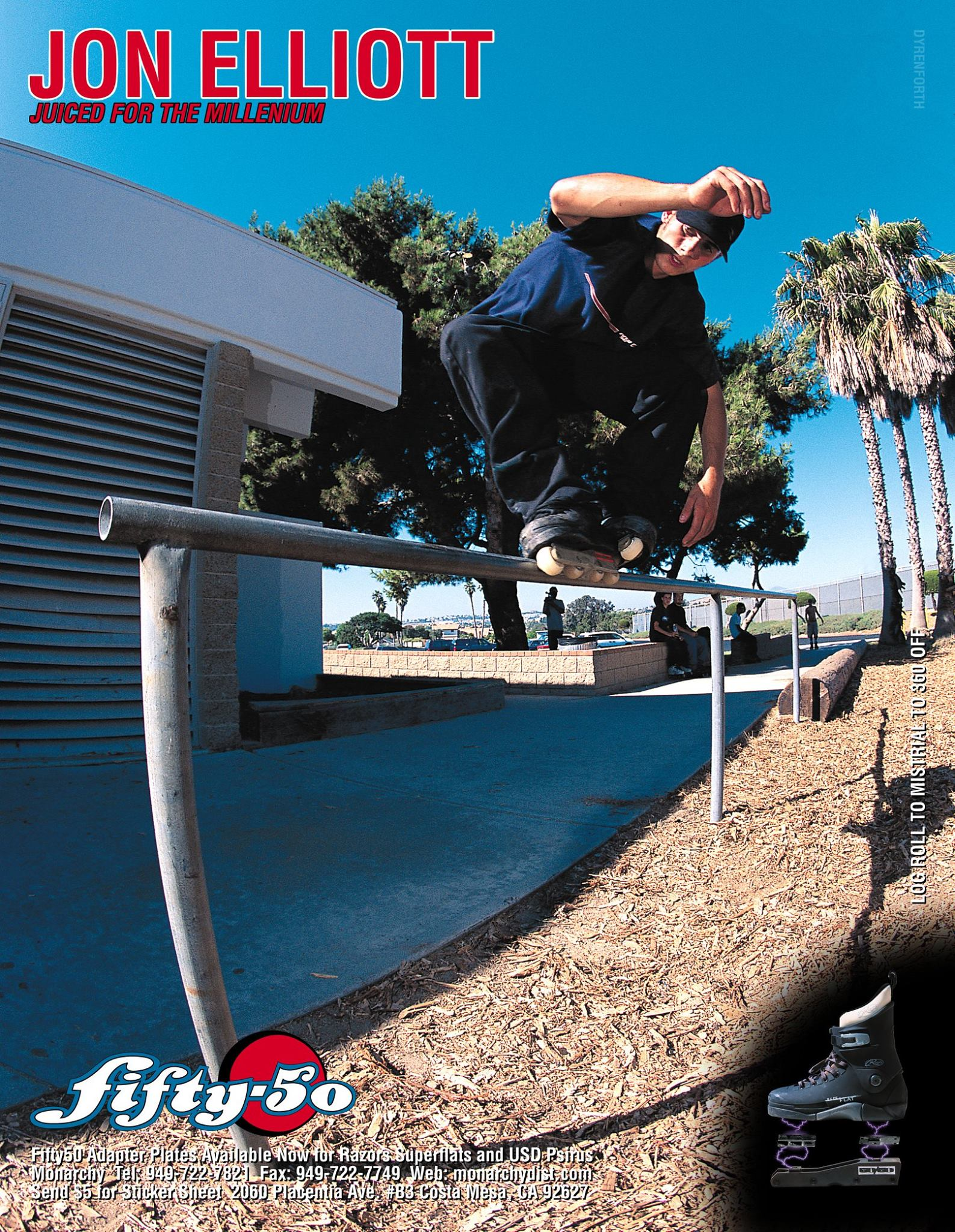 Jon Elliott was the first rider to test the 50/50 Razors adapter plates and provided a ton of feedback on how they could be improved. This ad with Jon ran in Daily Bread issue 33 around Winter 1999.