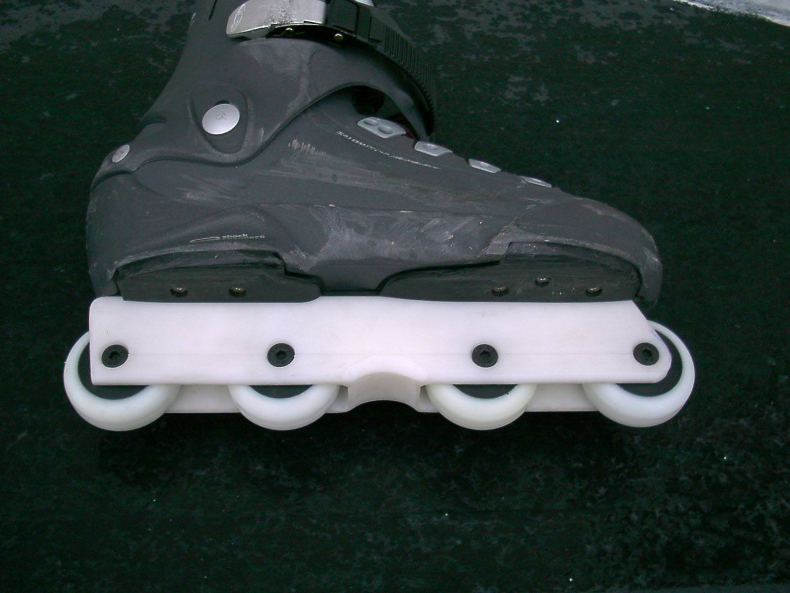 This is a prototype Salomon skate they gave us for testing the UFS frames. This was the first time we'd ever seen a complete UFS skate.