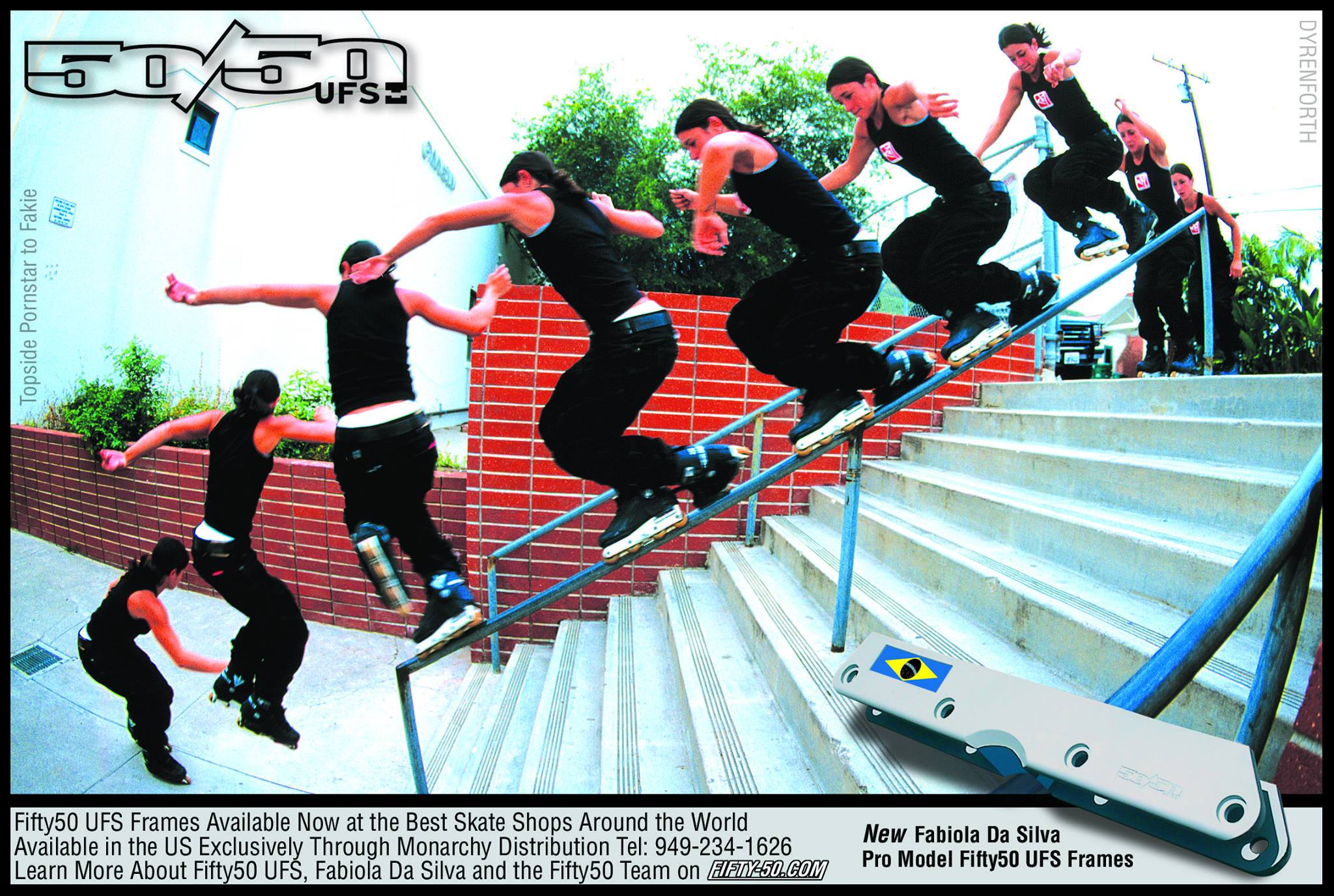 Fabiola Dasilva had one of the first pro model 50/50 UFS frames, shown in this ad from June 2001.