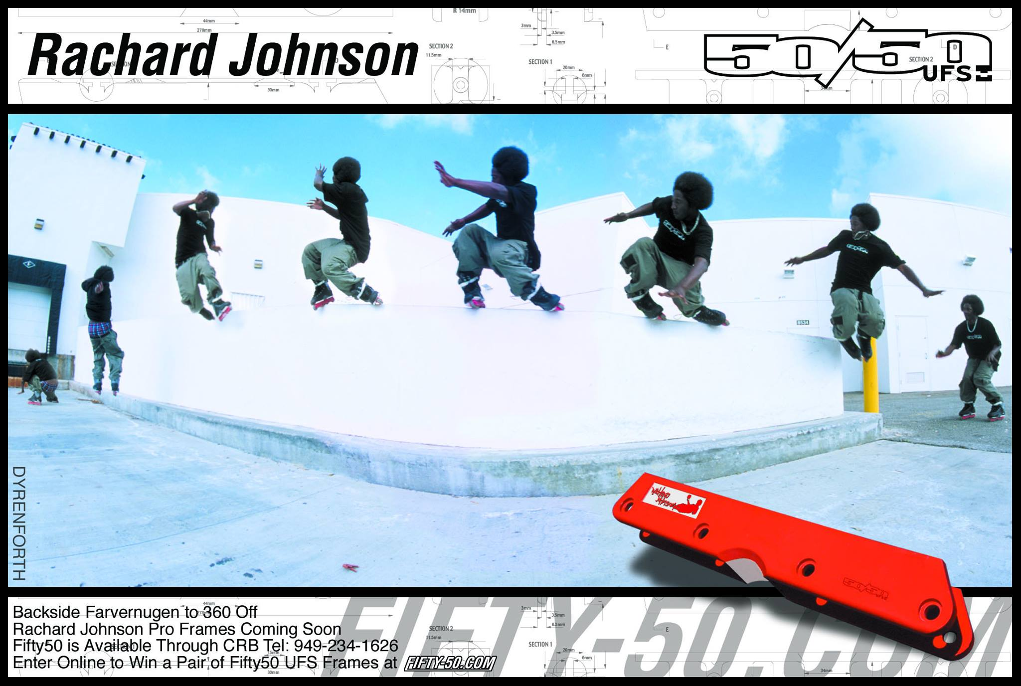 Rachard Johnson had the next Pro Model 50/50 UFS frame, shown in this Daily Bread ad in February 2002. With his huge hops, Rachard could get up on ledges most people would only dream of.