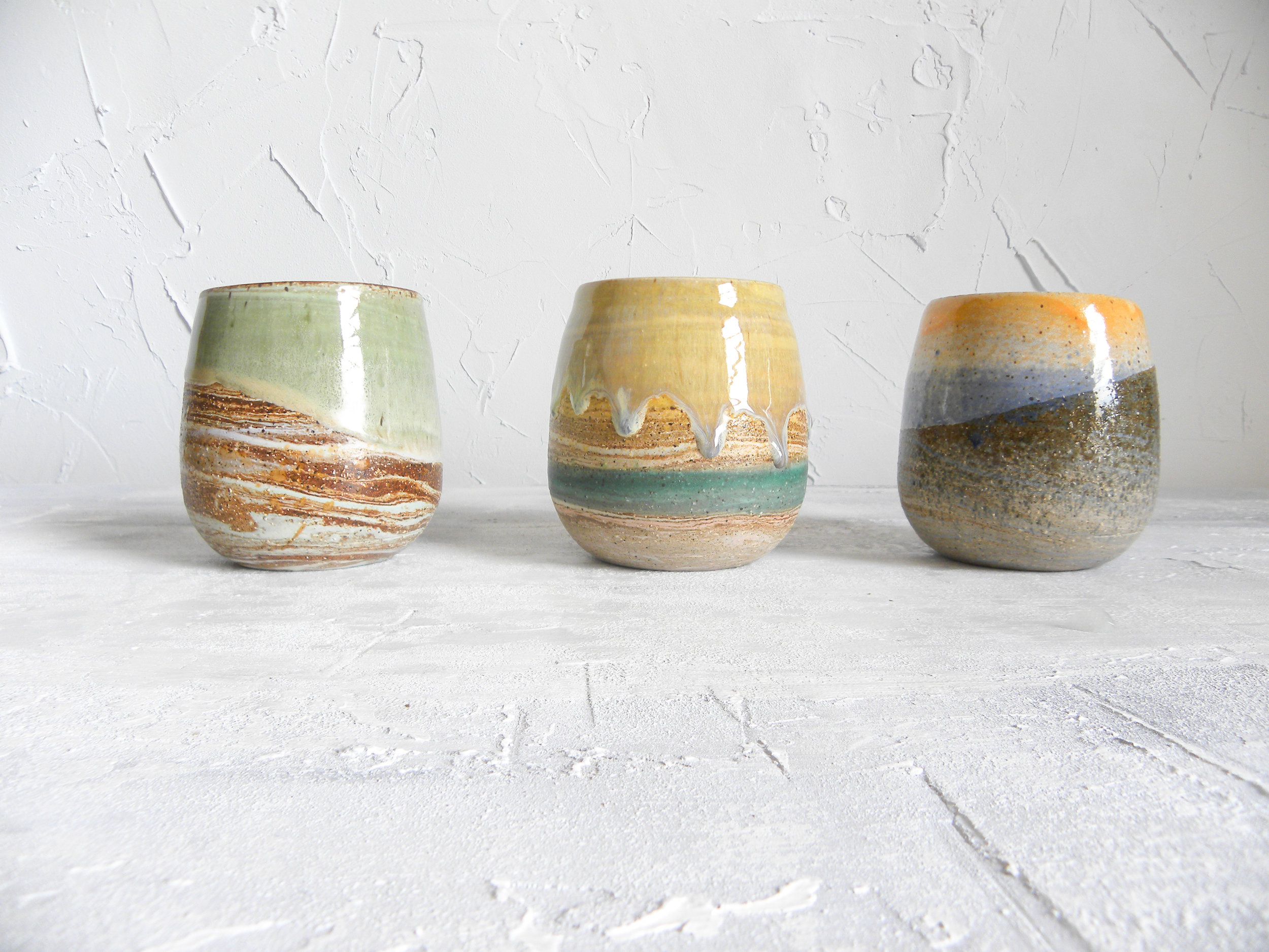 Three color ways on my stemless wine cups- I don't know which is my fav!