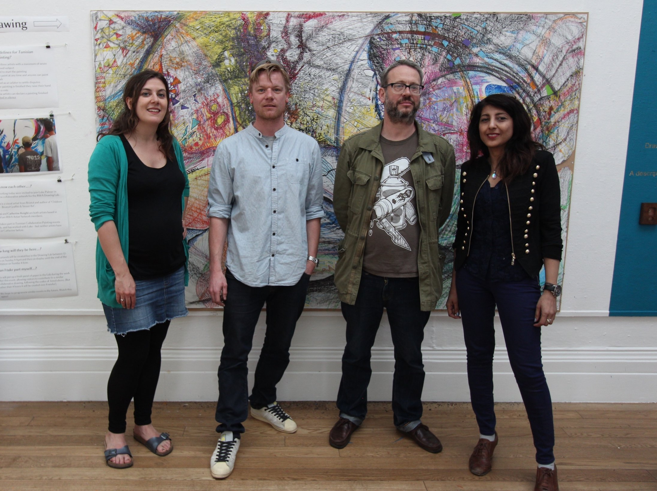 Cathrine Knight, Luke Palmer, Felix Braun, Bea Kayani - Collaborative drawing at the RWA, April 2017.