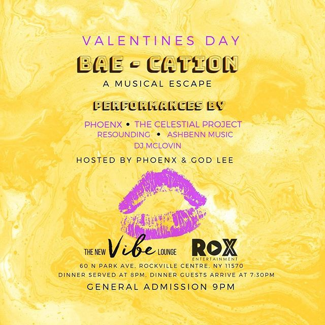 """This #valentinesday step out of the ordinary and come join us on BAE-CATION: A Musical Getaway 🍸There will be 4 live performances and a DJ to make your night special. Enjoy our signature drink """"Cupid's Arrow"""" and delicious Caribbean food. Come support local Artists and local businesses. Get your tickets now. Don't miss our couples package. 🌹Link in Bio."""