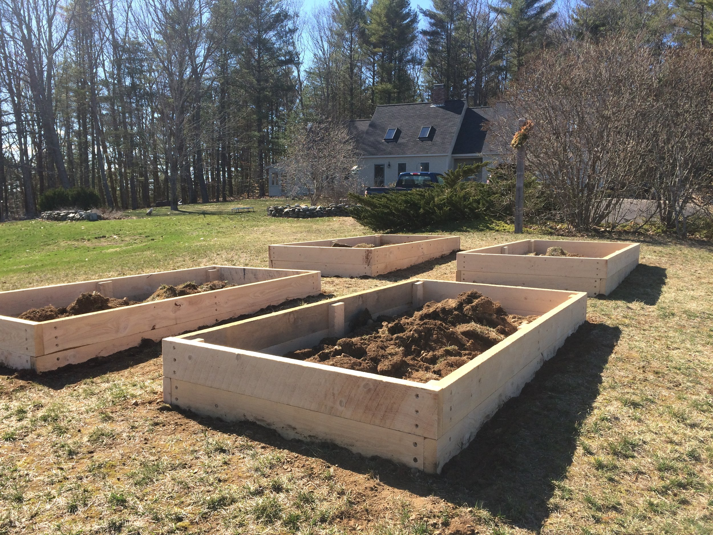 After (4 raised hemlock beds on hillside)