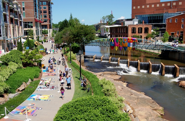 Art Crossing at RiverPlace  & Swamp Rabbit Trail Connection  1 minute walk from your apartment