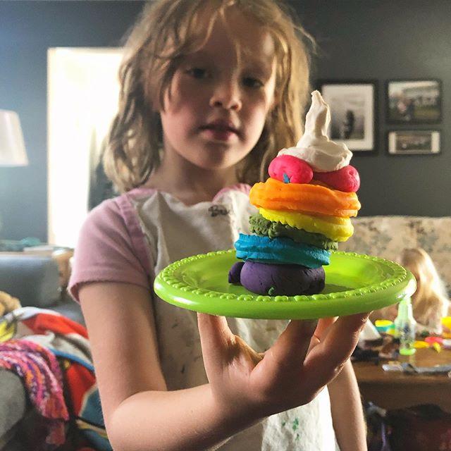 Chef Lena making rainbow swirl dessert. #sundaymorning #masterpiece