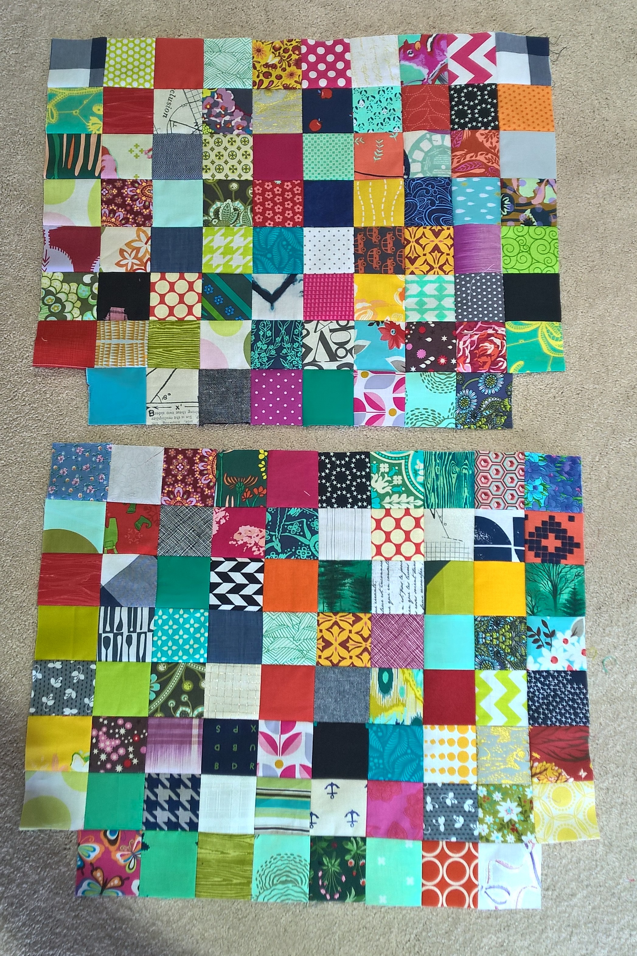 2 patchwork panels to create exterior of bag