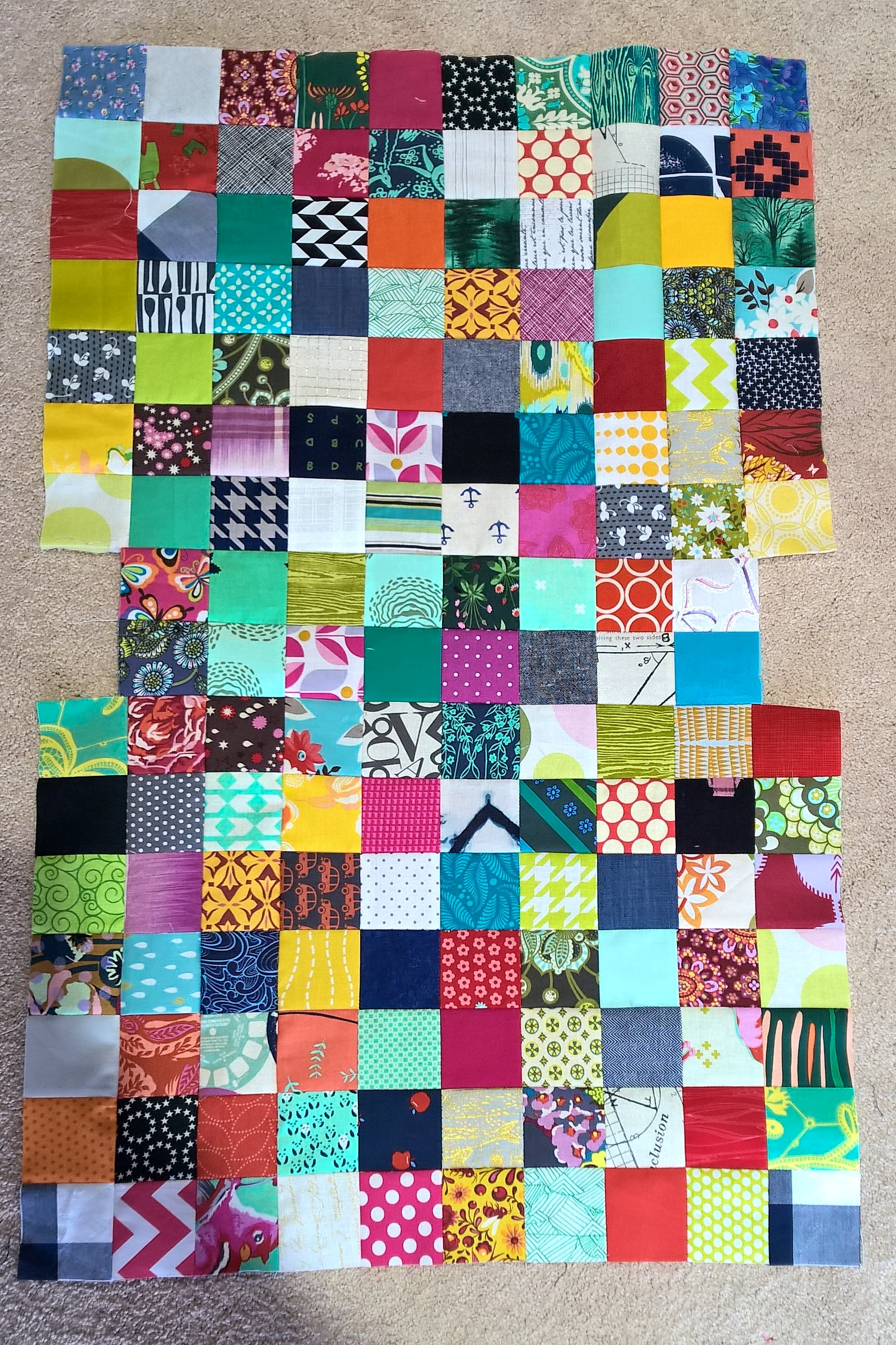 This is what your completed patchwork panel should look like to make the exterior of your bag.