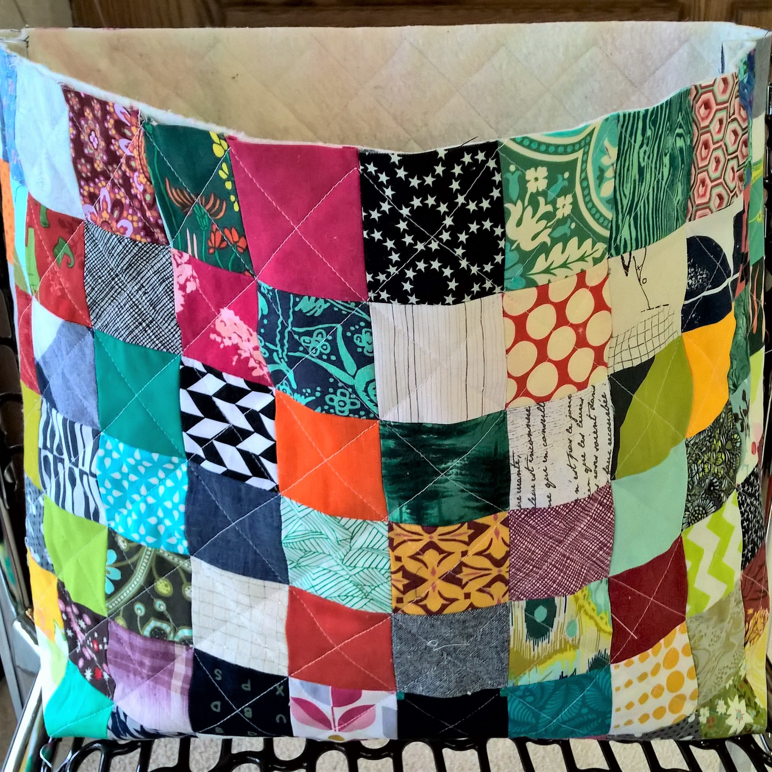 Here's what your patchwork exterior should look like now! Time to move on to the lining!