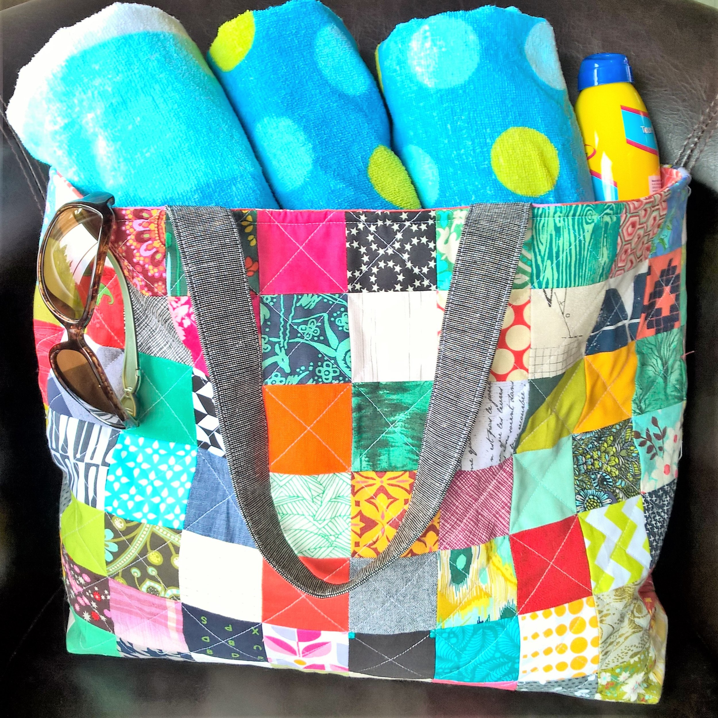 "Quilted Patchwork Tote Bag Tutorial    Follow this detailed tutorial to sew your own quilted patchwork tote using 2.5"" squares, an ideal scrap-busting project!"
