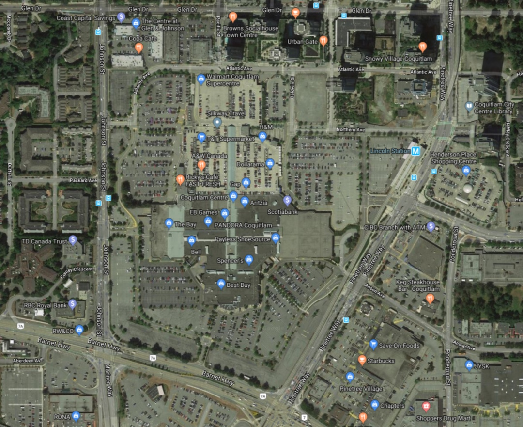 Aerial view of Coquitlam Centre's existing condition. (Google Maps)