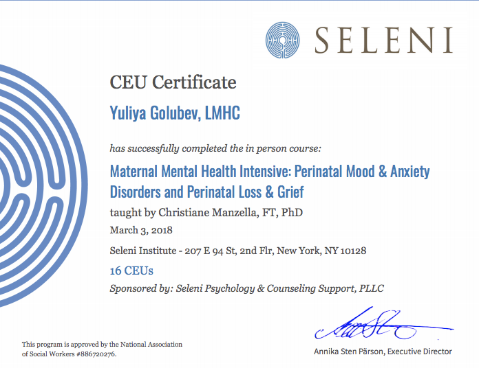 Maternal Mental Health Intensive: Perinatal Mood & Anxiety Disorders and Perinatal Loss & Grief - Seleni Institute