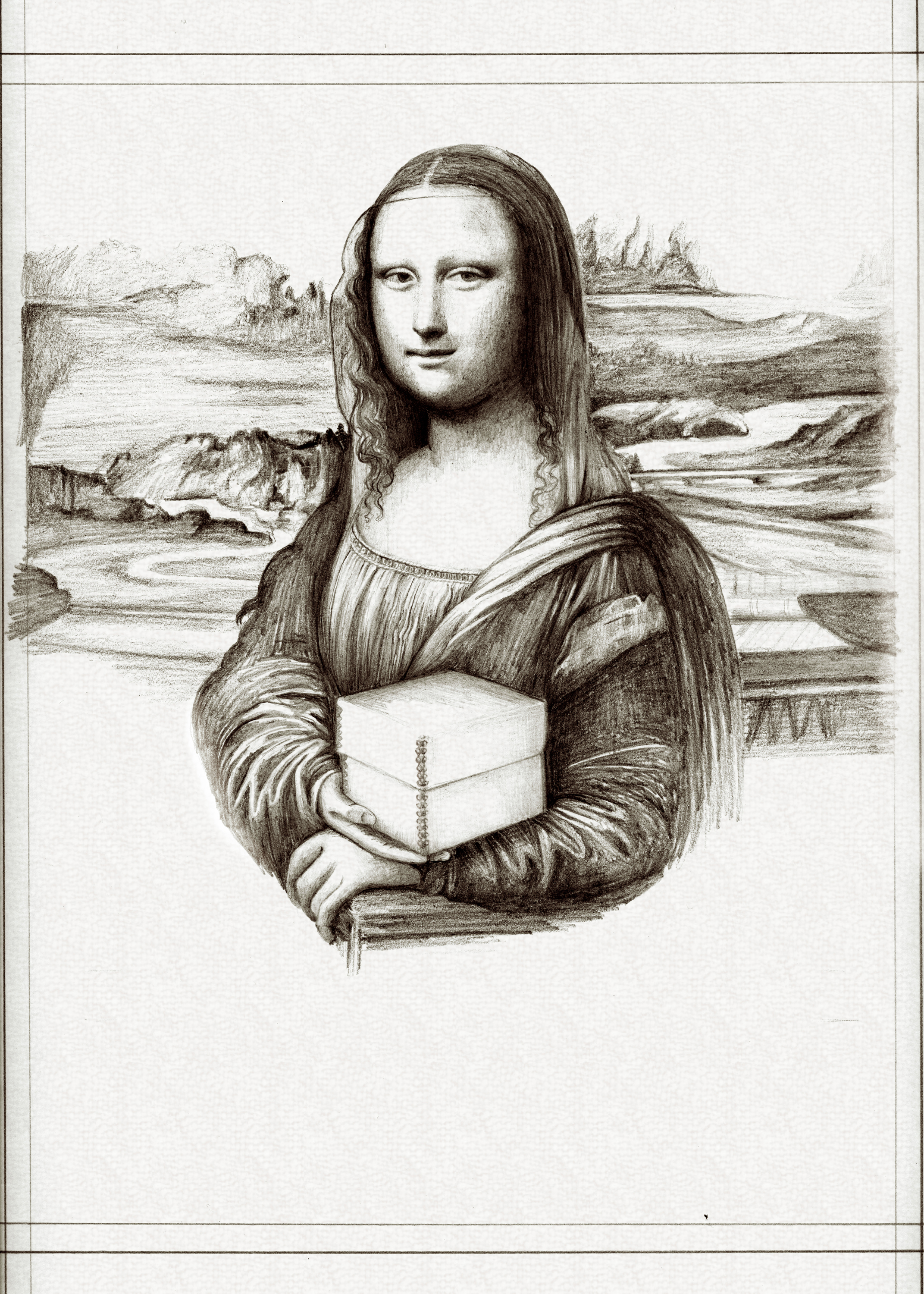 """3. A Pencil Sketch - Once the mock-up is approved, the illustrator begins with a pencil sketch, ensuring to replicate as many details as possible from the original and """"making up"""" information where extension is needed."""
