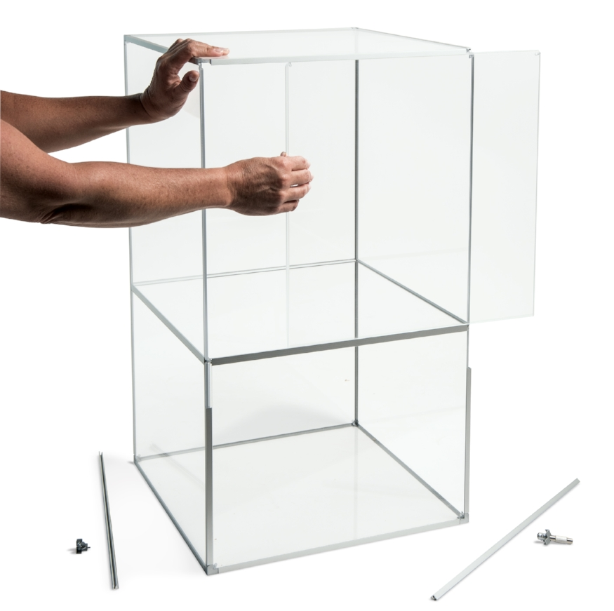 Model showing versatility, including shelving and panel removal