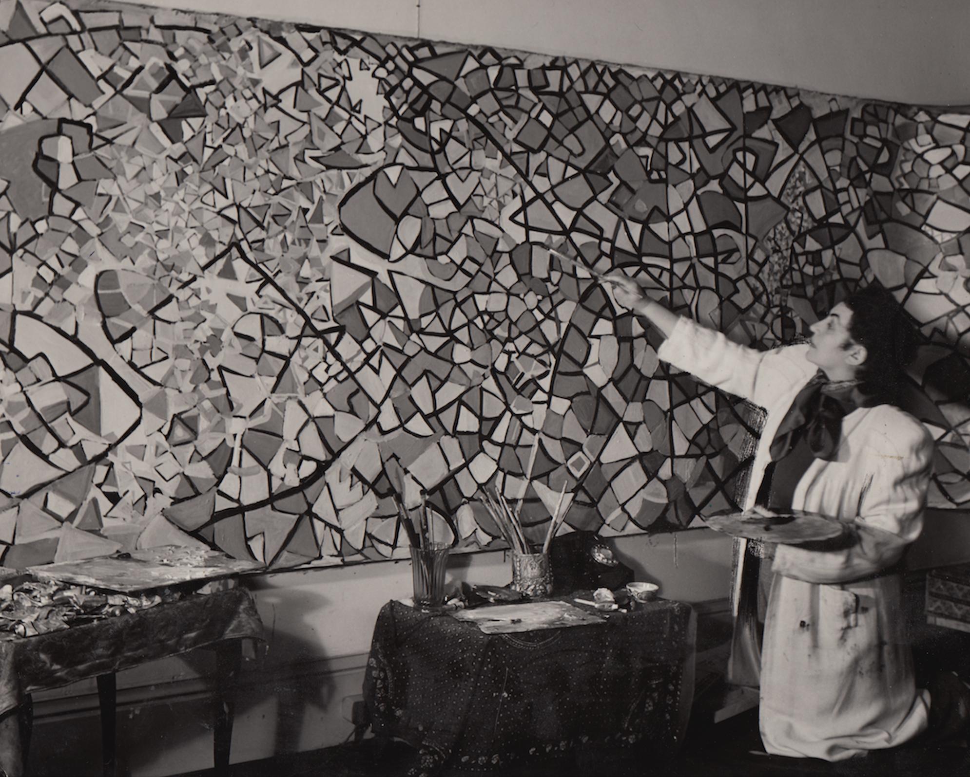 In the London studio painting Voyage of the Man Moon, 1949 (Fahrelnissa Zeid, Painter of Inner Worlds, Lalidi-Hanieh, Adila, p. 103)