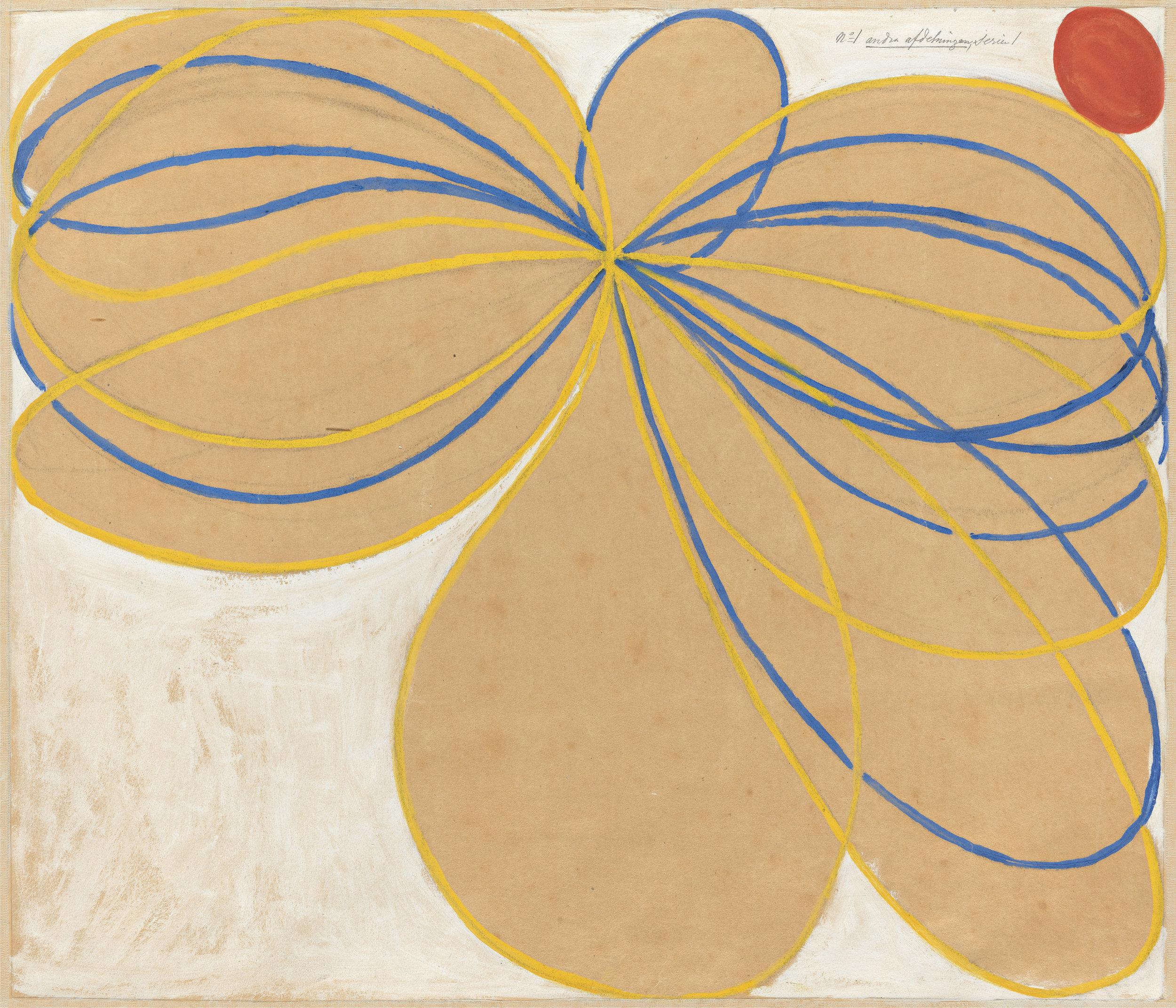 Hilma af Klint,  Group V, The Seven-Pointed Star, No. 1 n ( Grupp V, Sjustjärnan, nr 1 ), 1908, from  The WUS/Seven-Pointed Star Series  ( Serie WUS/Sjustjärnan ), Tempera, gouache and graphite on paper mounted on canvas, 62.5 x 76 cm, The Hilma af Klint Foundation, Stockholm Photo: Albin Dahlström, the Moderna Museet, Stockholm