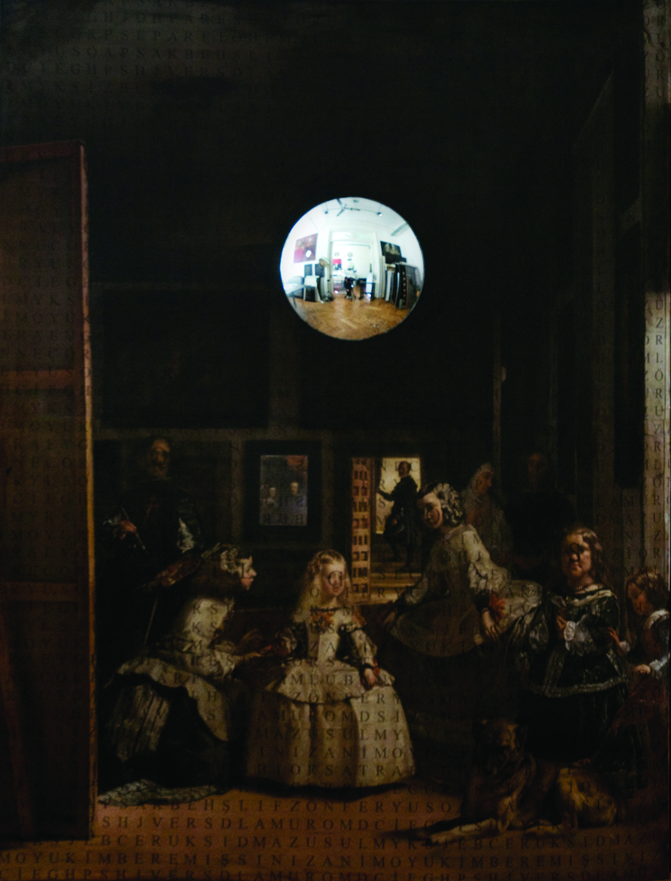 Las Meninas (Sentences, Things and Letters) | 1999 | Appopriation Series | Mixed Technique and Convex Mirror on Canvas | 150x120 cm