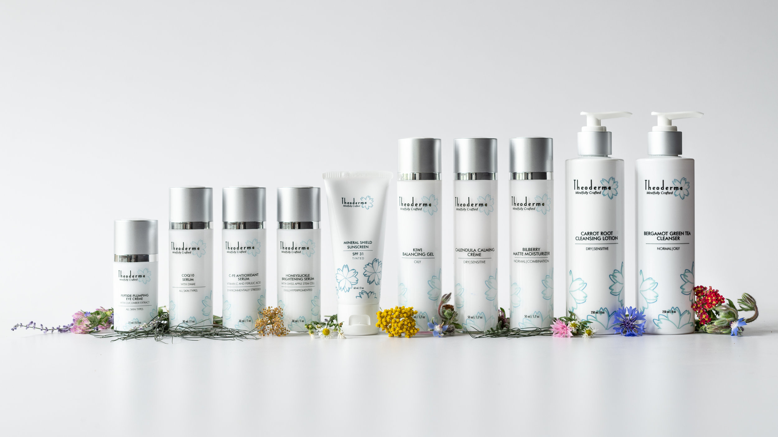 Theoderma skincare product shoot in studio