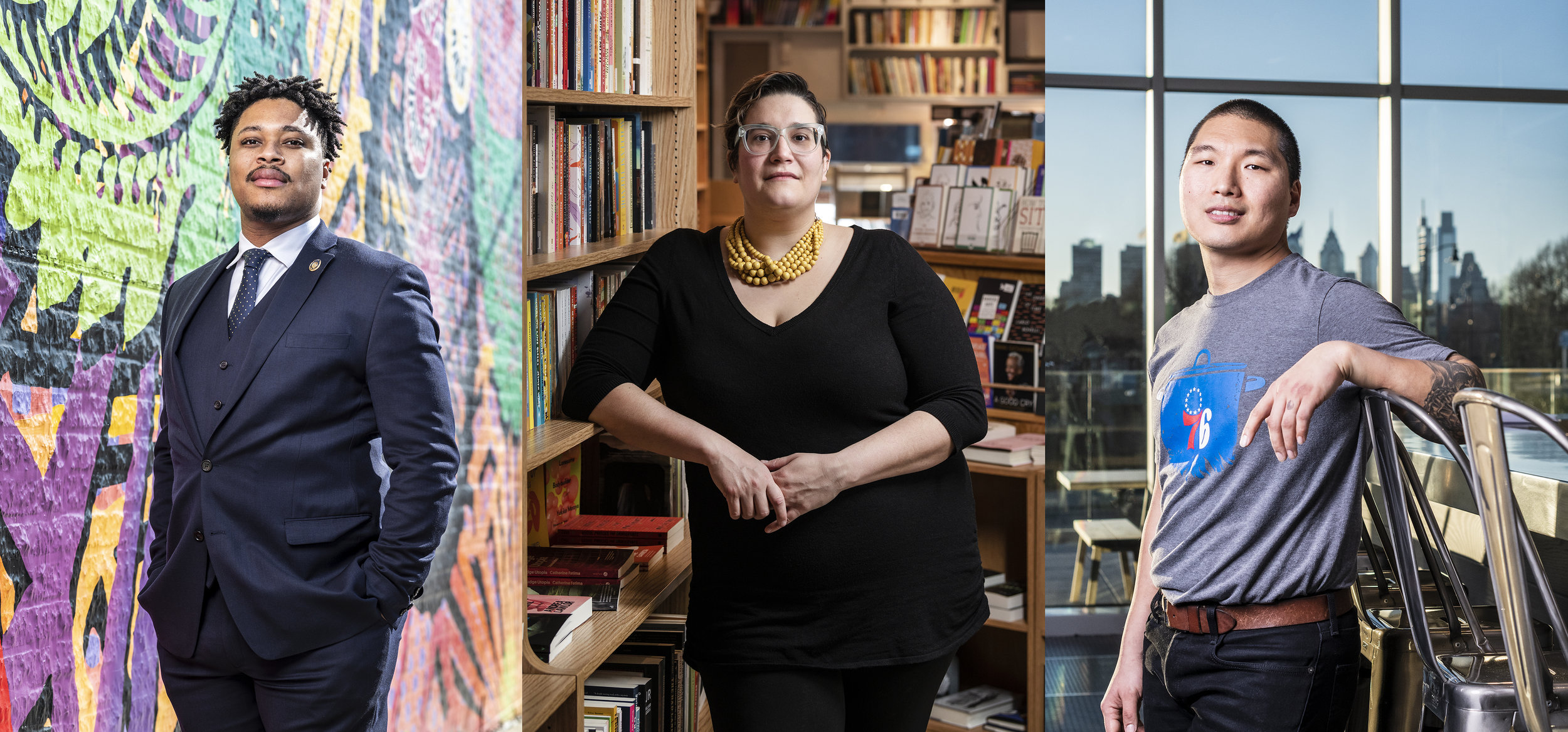 Malcolm Kenyatta, Carmen Maria Machado, Jae Hee Choe, as photographed for April 2019 issue of Philadelphia Magazine