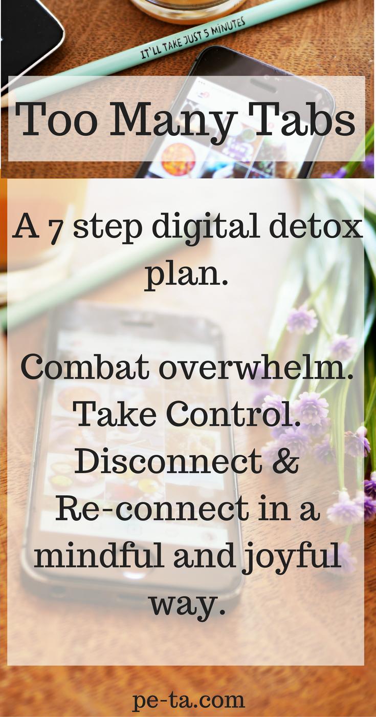 Too Many Tabs - A 7 Step Digital Detox Plan. Download the e-book on pe-ta.com