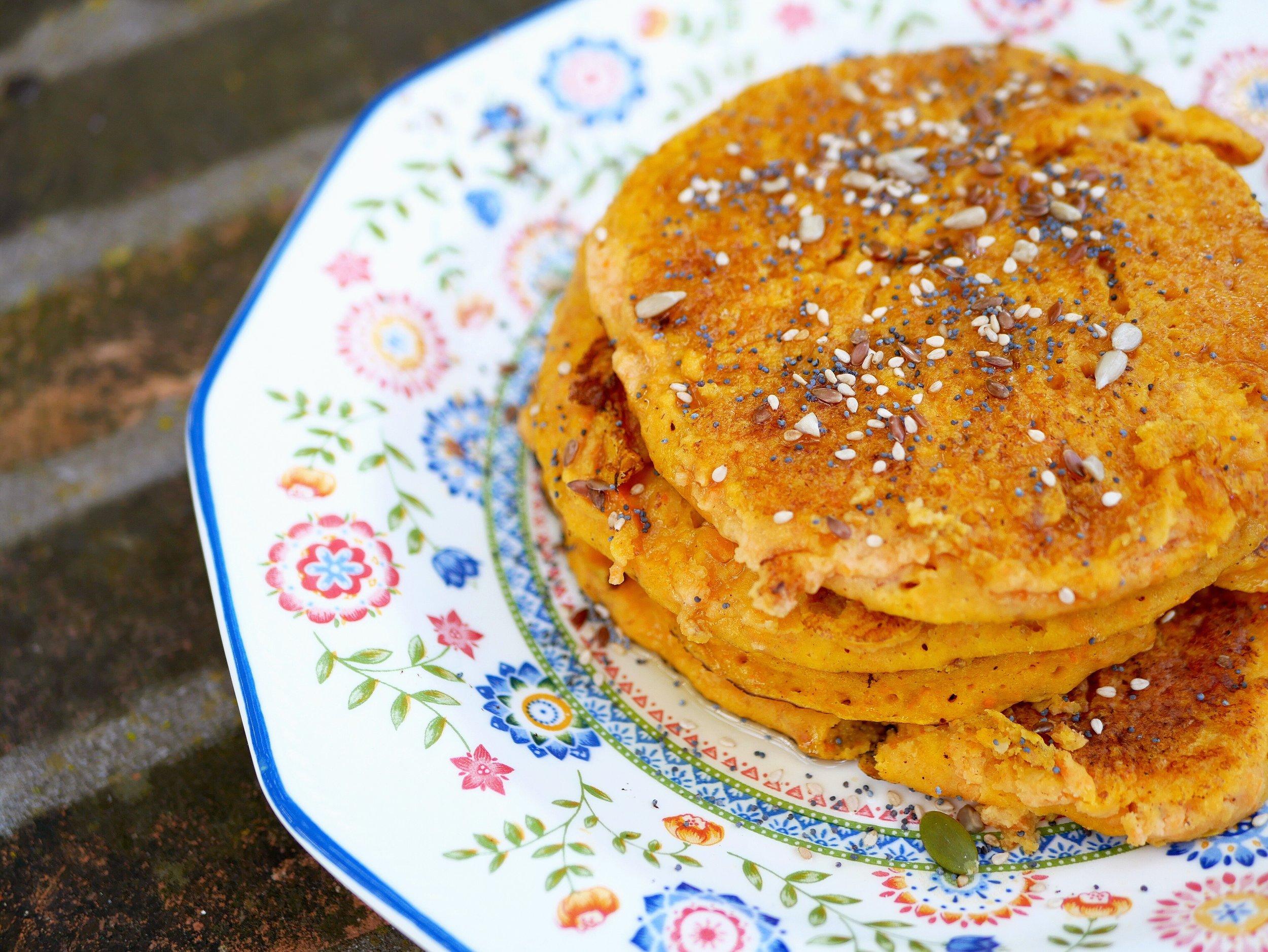 carrot cake pancakes on plate
