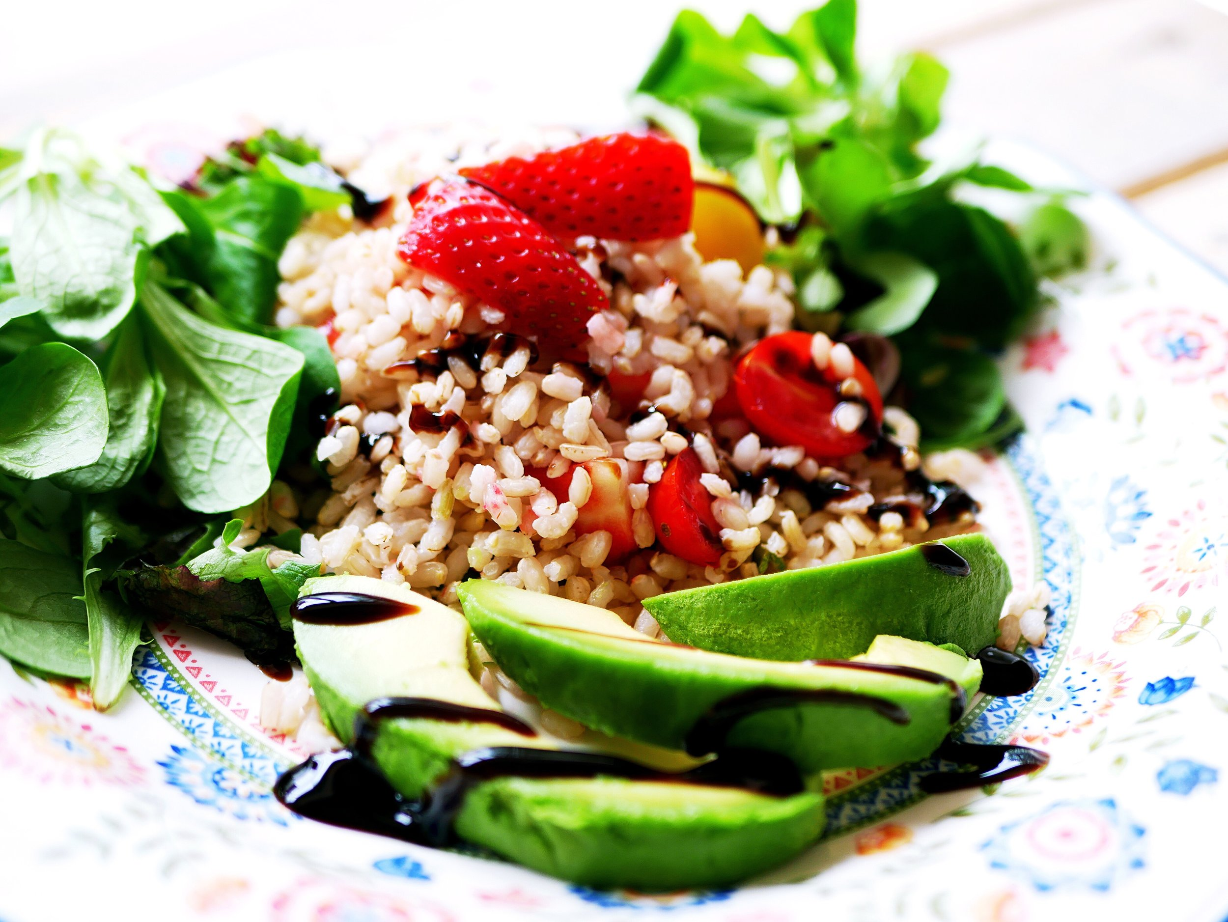 avocado with balsamic dressing and rice salad