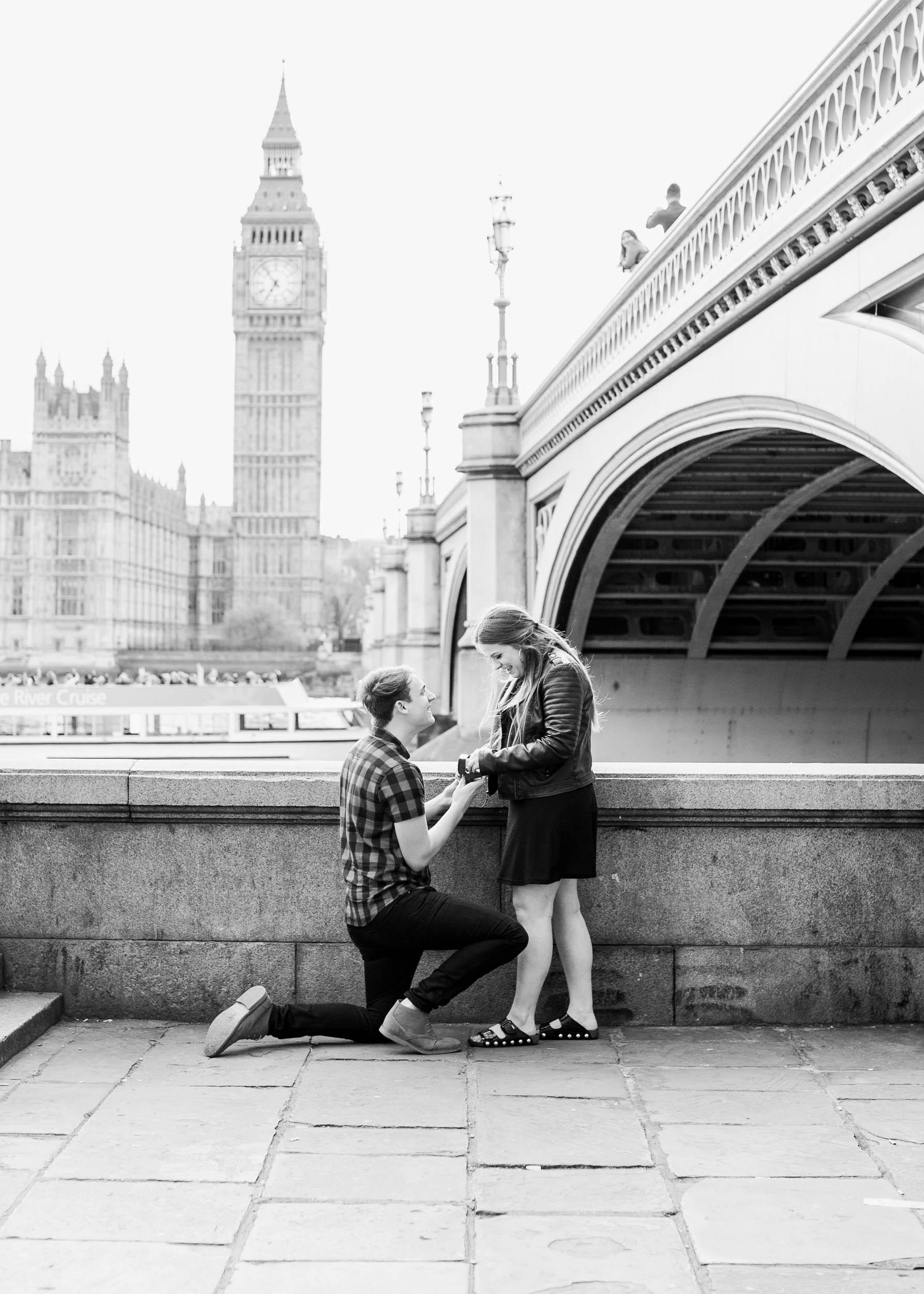 Amy O'Boyle Photography- Destination & UK Fine Art Film Wedding Photographer- London Proposal- Westminster Bridge Big Ben Engagement Shoot-17.jpg