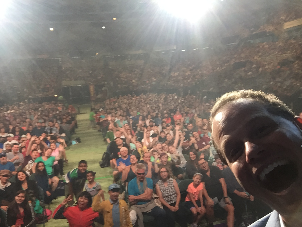 Selfie while amazing 10,000 people at the Pacific Coliseum