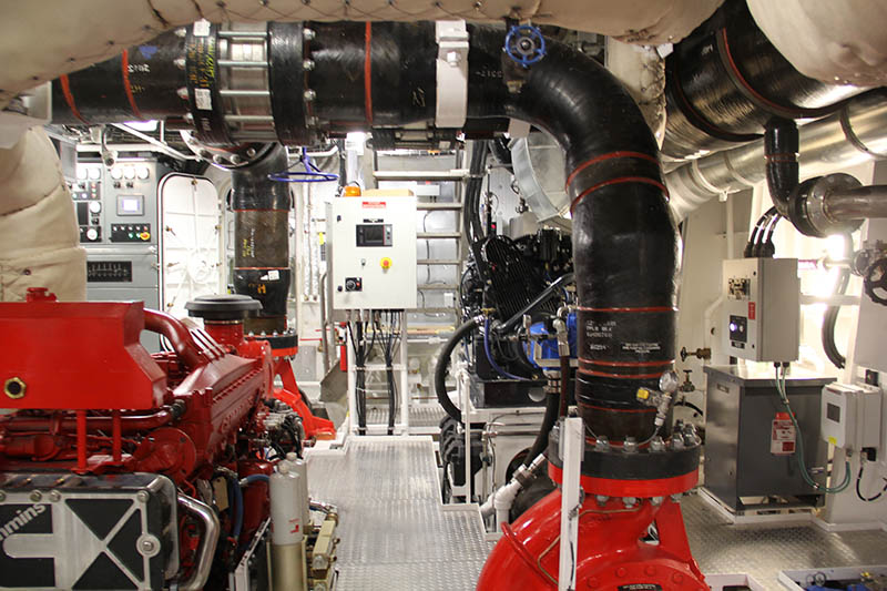 The Fireboat 3 engine room, where the Cummins main engines take care of propulsion and pumping power. Vigor photo.
