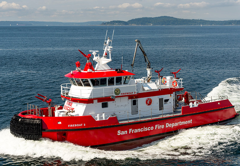 The new fireboat's main job is to keep the city's water system flowing in case of a disruption. The boat can pump 18,000 gpm into the system at various locations. Vigor photo.