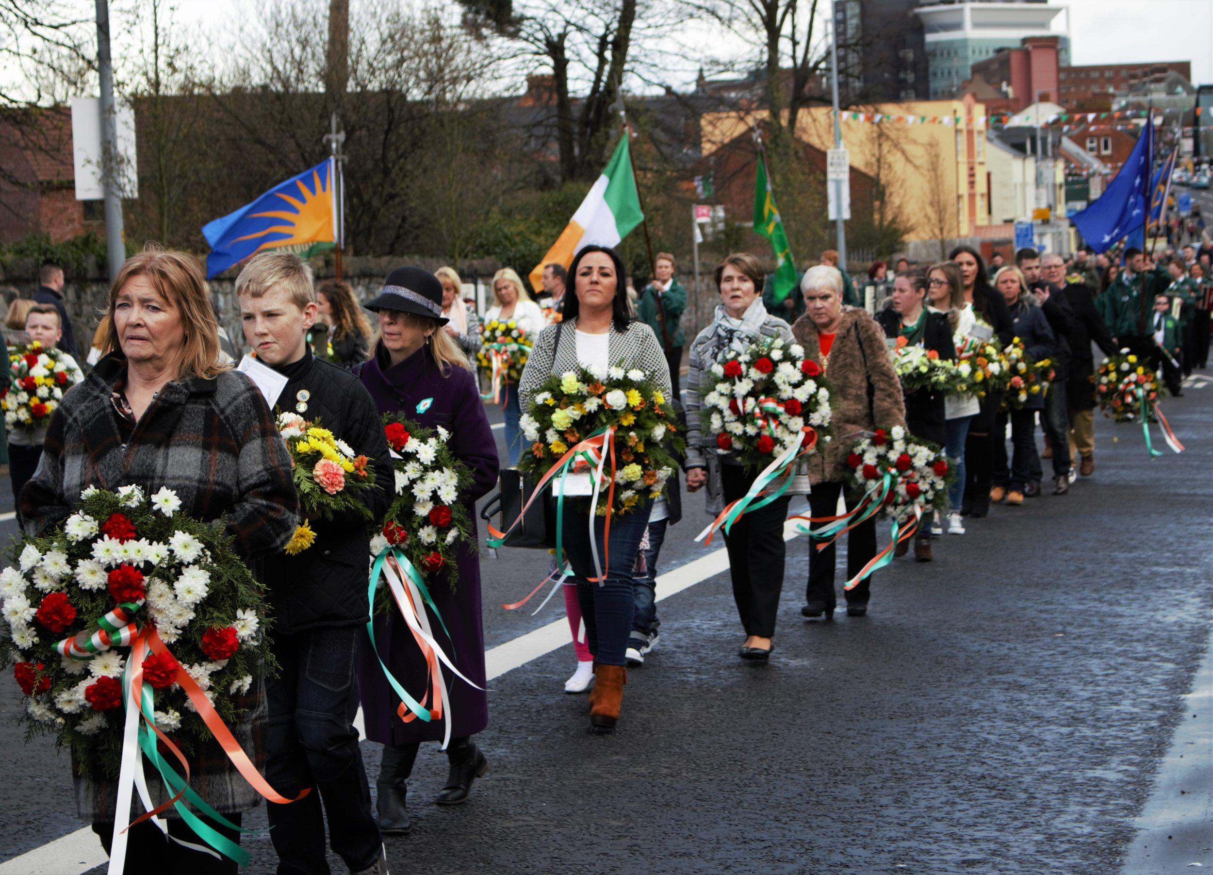 Belfast, Northern Ireland. A memorial parade takes place for Irish republicans killed during the troubles.