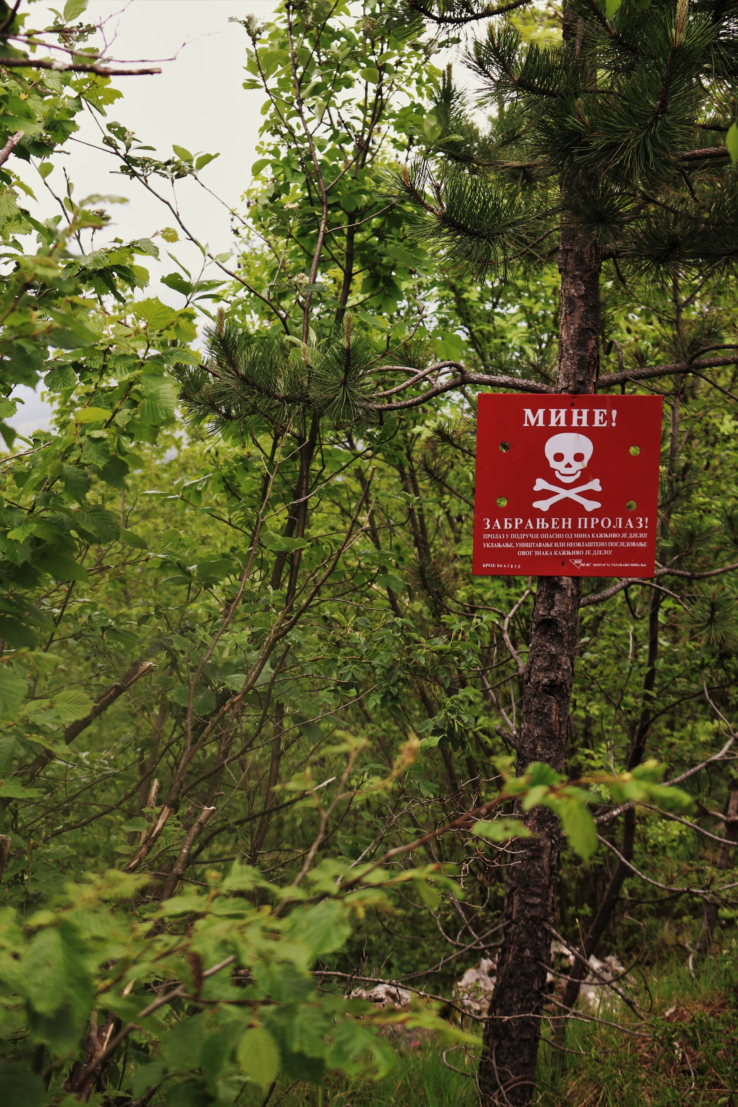 A sign warns of landmines in the immediate area.