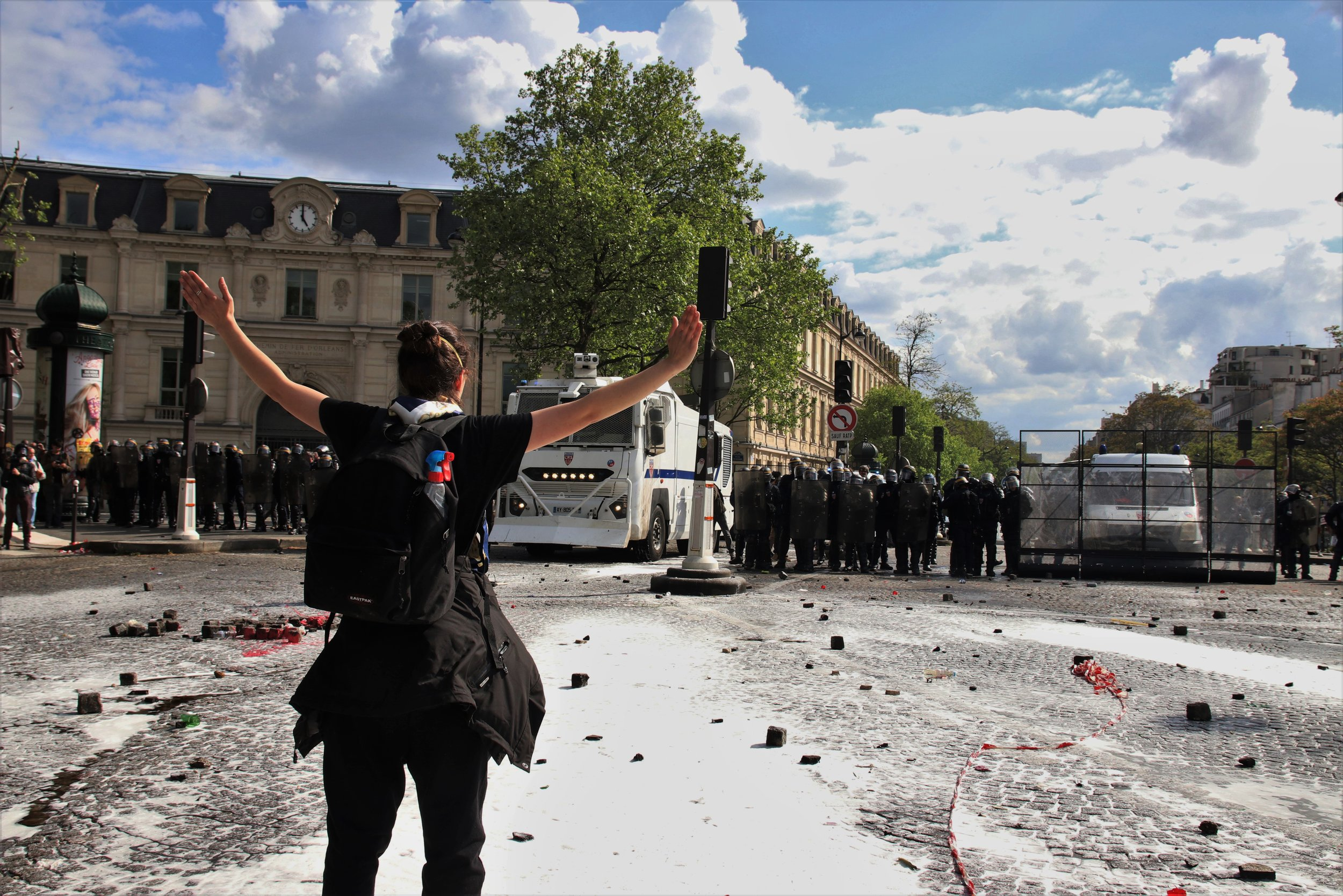 A protester stands in the way of the police advance