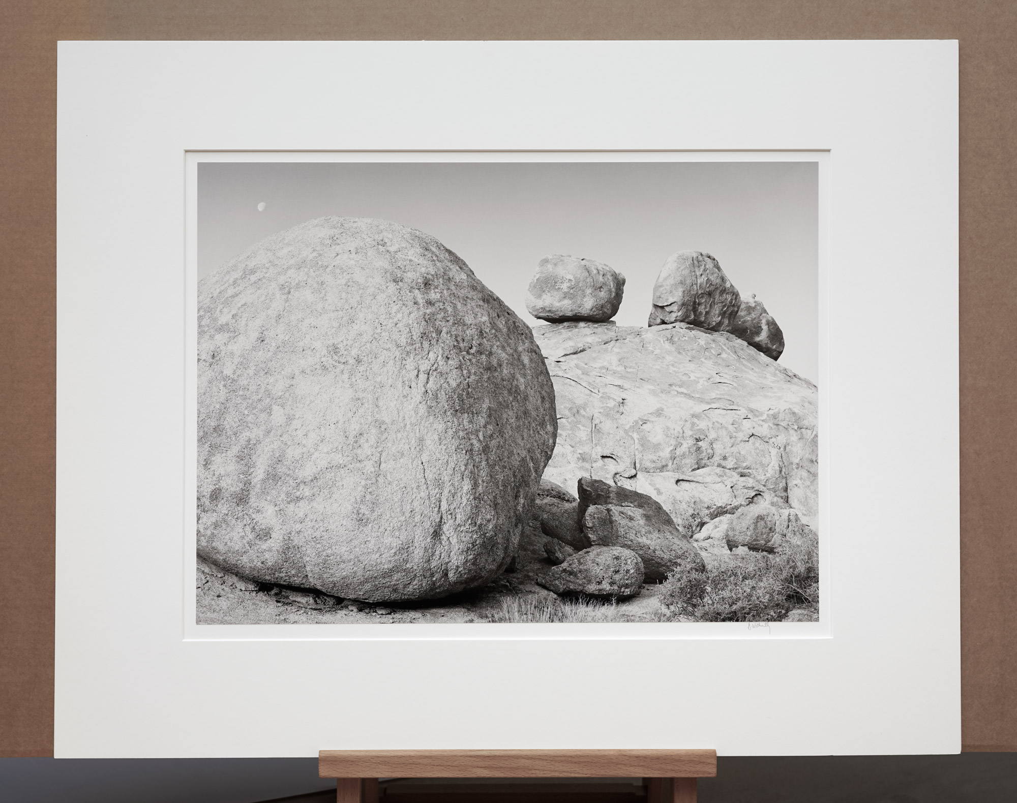 Setting Moon and Boulders, 1982 - 16x20