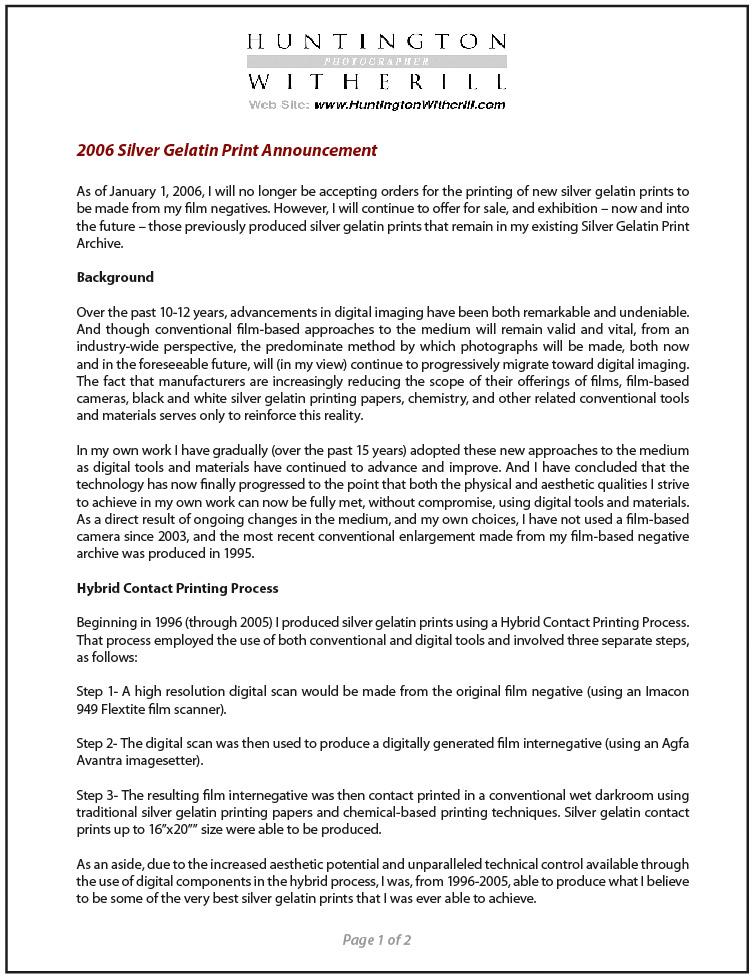 2006 Silver Print Announcement
