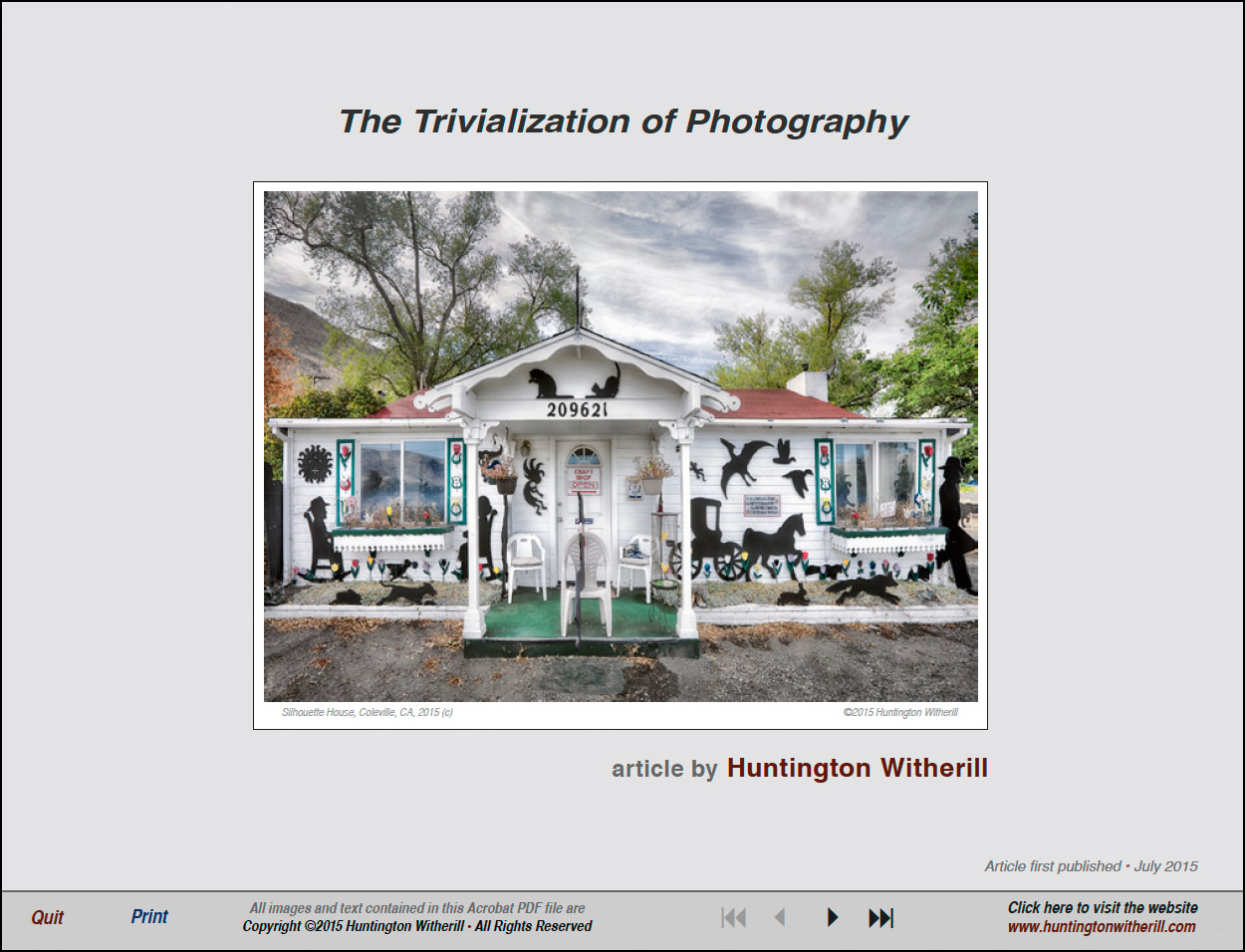 Article- Trivialization of Photography