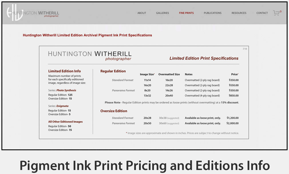 Pigment Ink Print Pricing and Editions Info